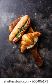 Sandwich with tuna and egg and Croissant sandwich with cheese and ham