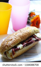 sandwich with turkish sausage and cheese, sucuk ekme, close up