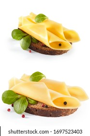 sandwich with vegetables, cheese and herbs, isolated on white background