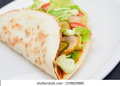sandwich wrap with meat and vegetables