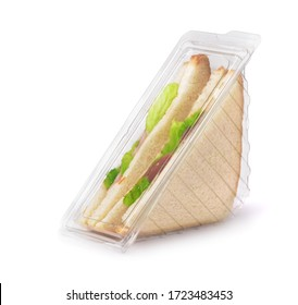 Sandwiches in clear plastic package isolated on white