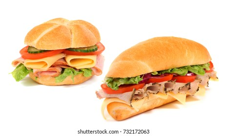 Sandwiches isolated on the white background