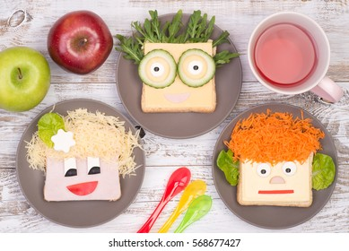 Sandwiches for kids in a shape of a funny faces