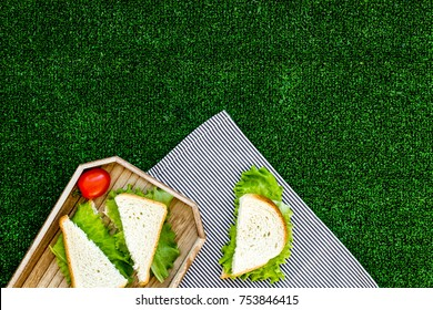 Sandwiches with lettuce for picnic on tablecloth on green grass background top view.