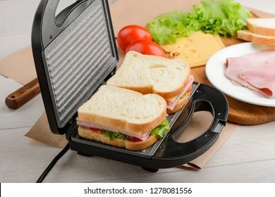 Sandwiches in a panini press