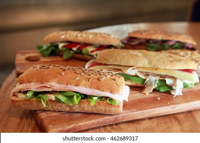 Sandwiches platter on the table.