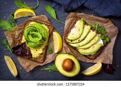 Sandwiches with rye bread, guacamole and fresh avocados