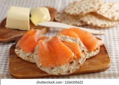 Sandwiches with salt salmon and knackebrod, Swedish crispbread
