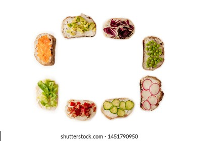 sandwiches or tapas prepared with bread and tasty ingredients. Could be nice food for healthy breakfast ot lunch. Copy space for your text