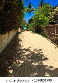 A sandy beach access leading to the stunning blue ocean, palm tree, and Kailua beach. Adventure awaits, weekend getaway, family time, beach path concepts.