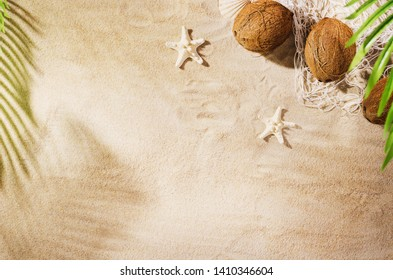 Sandy beach background top view with visible sand texture. Backdrop for mockups and advertising.