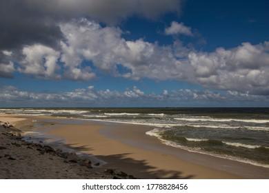 Sandy beach at Baltic sea near Rozewie in Poland