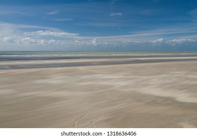 Sandy beach in Bay of the Somme, in Picardy in France