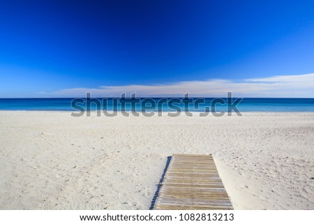 Sandy beach and blue sea, beautiful summer landscape