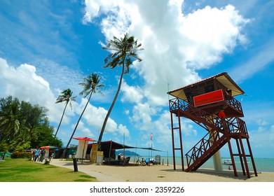 Sandy beach with blue sky, sea and coconut tree.