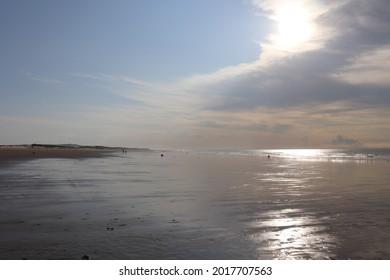 The sandy beach of Calais along the Channel sea, city of Calais, departement of Pas de Calais, France