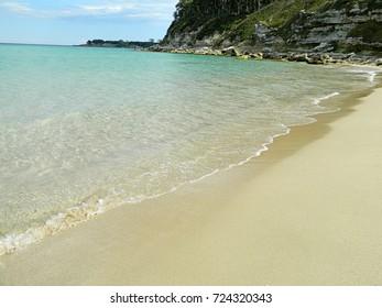Sandy beach and crystal clear sea
