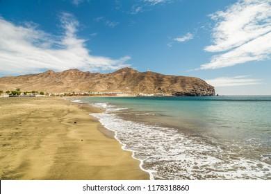 Sandy beach in Gran Tarajal, Fuerteventura, Canary Islands, Spain.