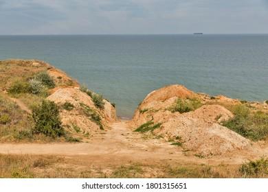 Sandy beach hills Black Sea seascape close to Odessa, Ukraine