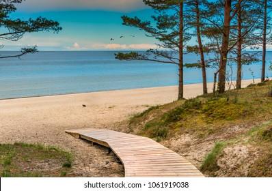 Sandy beach of Jurmala famous international resort in Baltic region of Eastern Europe, Latvia
