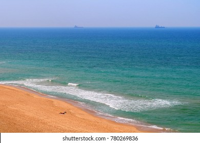 Sandy beach of the Mediterranean Sea in Ashkelon National Park, Israel
