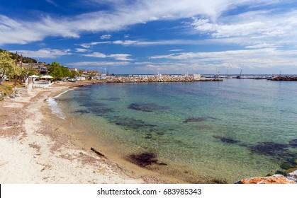 Sandy beach in Nea Skioni village, Halkidiki, Greece
