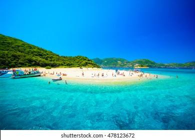"sandy beach on ""turtle islet"" on the south coast of the island Zakynthos, Greece"