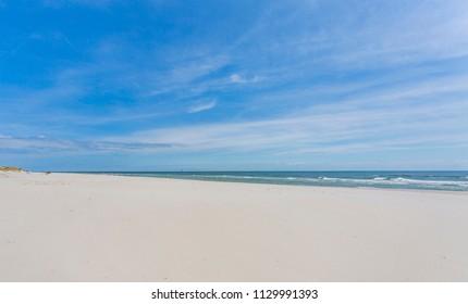 The sandy beach of Sandhammaren, Skane Sweden in June, ranking as number five of the best beaches in Sweden