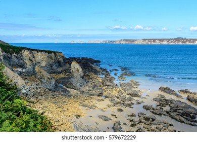 Sandy beach in sea bay at Camaret,Brittany France