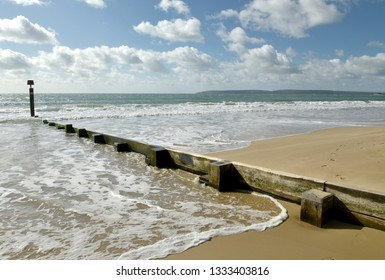Sandy beach and seafront at Bournemouth in Dorset
