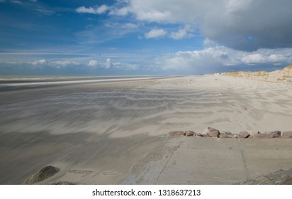 Sandy beach in Somme Bay, in Picardy, in France
