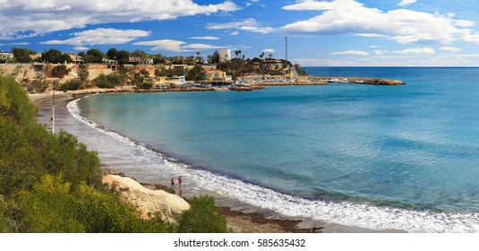 Sandy beach in Spain, with the sea view, Costa Blanca,Valencia