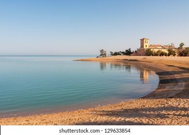 Sandy beach at sunset. El Gouna, Egypt
