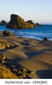 Sandy beach at sunset on the Oregon coast