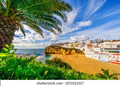 Sandy beach surrounded by cliffs with palm trees and white architecture in Carvoeiro, Algarve, Portugal