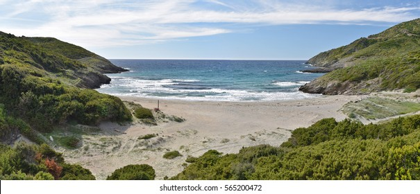 The sandy beach is surrounded with green cliffs and hills covered with maquis in the Cap Corse. This is the most attractive Corsican coast.
