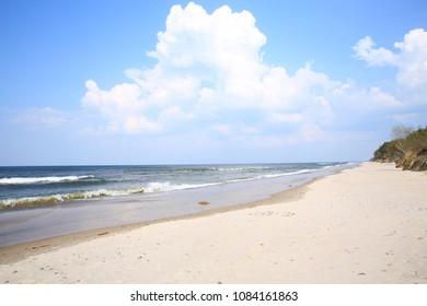 Sandy beach in Wolinski Natural Preserve near Miedzyzdroje, Pomerania, Poland