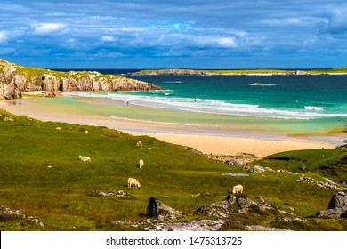 Sandy Ceannabeinne Beach At The Atlantic Coast Near Durness In Scotland