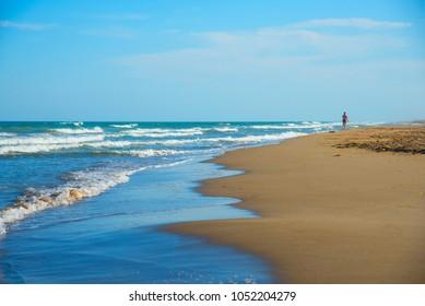 Sandy coast of the Mediterranean Sea, Tarragona, Spain