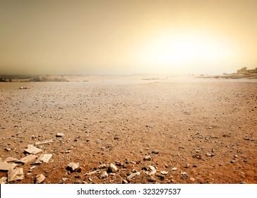 Sandy desert in Egypt at the sunset
