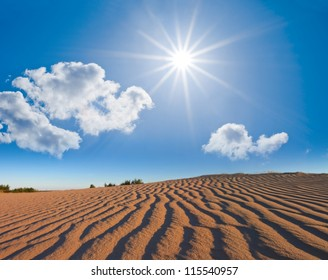 sandy desert under a sparkle sun