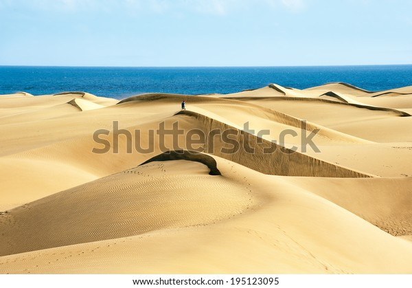 Sanddünen am berühmten Naturstrand von Maspalomas. Gran Canaria. Spanien
