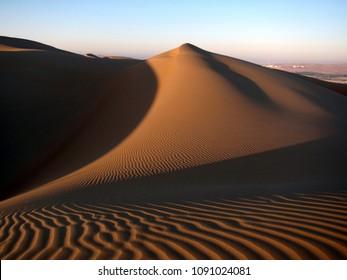 Sandy dunes in Rub Al Khali (Empty Quarter) desert in UAE