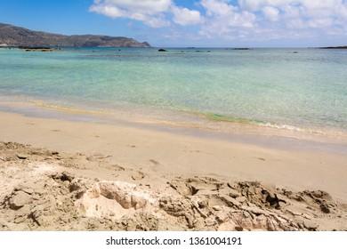Sandy Elafonisi beach with crystal clear water. Crete Island, Greece