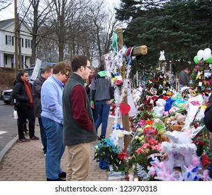SANDY HOOK, CT - DECEMBER 14: School shooting memorials created following December 14, 2012 massacre at Sandy Hook Elementary School in Sandy Hook, Connecticut.