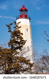 Sandy Hook, NJ February 19, 2020 Sandy Hook Lighthouse in Gateway National Recreation Area New Jersey