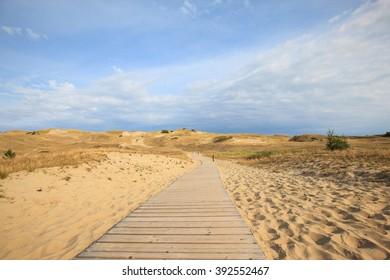 sandy landscape on  coastal spit, Unesco heritage, Curonian Spit, Lithuania