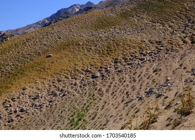 Sandy mountain slope with rocks. Abstract natural background.