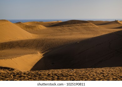 Sandy natural dunes in Maspalomas beach. Gran Canaria. Spain