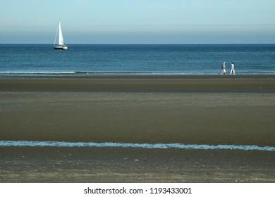 The sandy North Sea beach in Nieuwpoort, Belgium